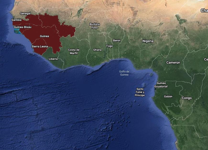 Mapa de Distribución Anubias Azfelli por paises