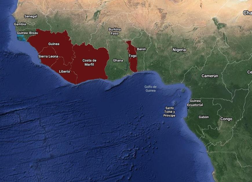Mapa de Distribución Anubias gigantea por países