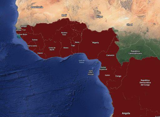 Mapa de distribución de Anubias en el mundo.